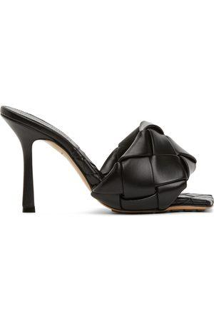 Bottega Veneta Damen Sandalen - Black Intrecciato Lido Heeled Sandals