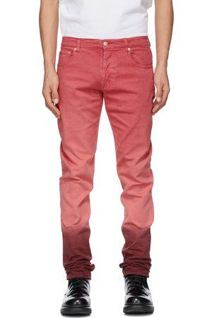 Alexander McQueen Pink & Burgundy Denim Dip Dye Washed Jeans