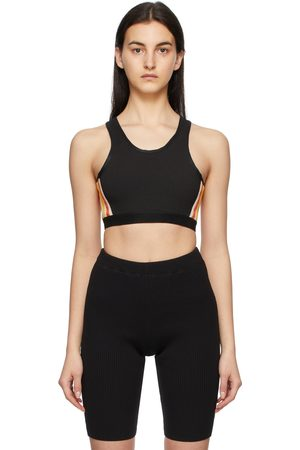 MERYLL ROGGE Black Faille Stripe Bra Tank Top