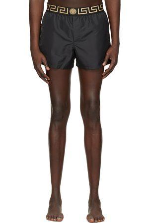 VERSACE Black Short Greca Border Swim Shorts