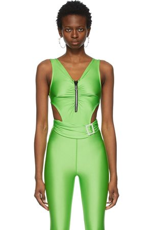 pushBUTTON SSENSE Exclusive Green Jewelled Cut-Out Bodysuit
