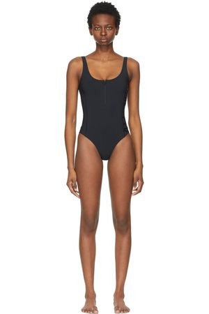 Moncler Black Matt Black Edition Logo One-Piece Swimsuit
