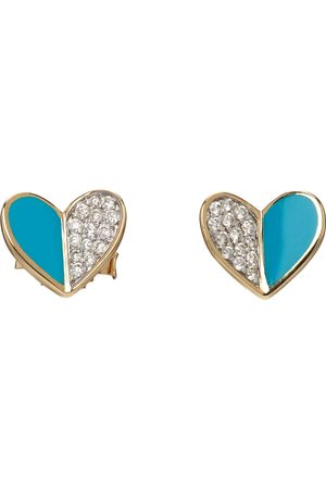 Adina Reyter & Blue Ceramic Pavé Folded Heart Earrings