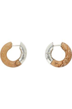 Bottega Veneta Silver & Beige Half Stone Earrings