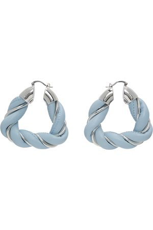 Bottega Veneta Blue & Silver Leather Earrings