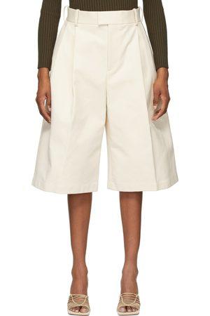 Bottega Veneta Off-White Twill Wide-Leg Shorts