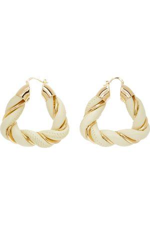 Bottega Veneta Gold & Yellow Leather Earrings