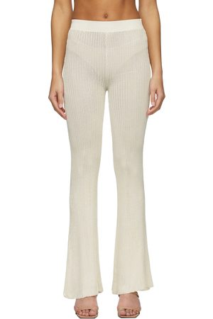 Calle Del Mar Off-White Ribbed Lounge Pants
