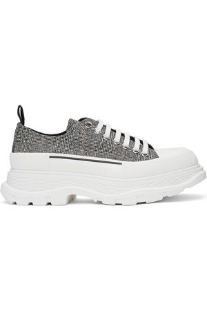 Alexander McQueen Black & White Wool Tread Slick Sneakers