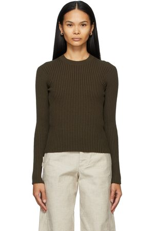 Bottega Veneta Khaki Rib Crewneck Sweater