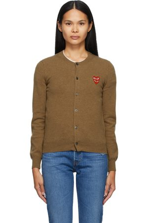 Comme des Garçons Brown Wool Layered Double Heart Cardigan