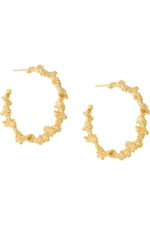 Niza Huang Damen Ohrringe - Große vergoldete Silberkreolen