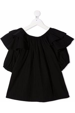 Le pandorine Mädchen Blusen - Gerüschte Bluse mit kurzen Ärmeln