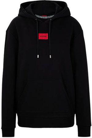 HUGO BOSS Damen Sweatshirts - Kapuzen-Sweatshirt aus Baumwolle mit rotem Logo-Etikett