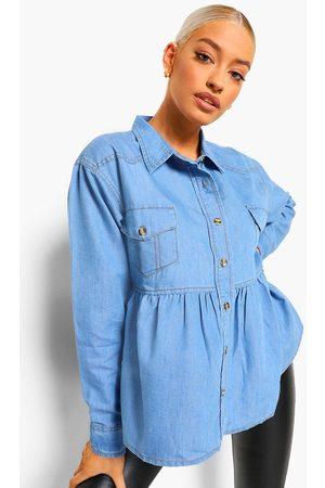 boohoo Damen T-Shirts - Womens Denim Shirt Oversized Smock Top - - 32