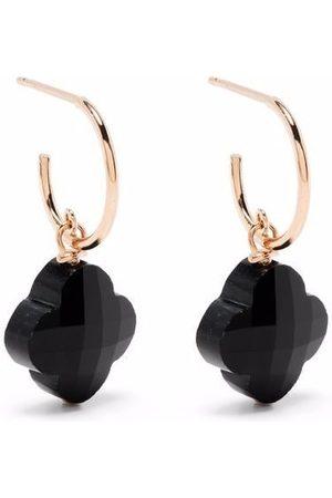 MORGANNE BELLO Damen Ohrringe - 18kt Victoria Rotgoldcreolen mit Kleeblatt aus Onyx