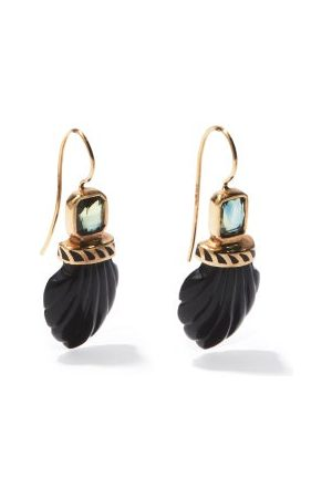 Dezso Damen Ohrringe - Deco Sapphire, Onyx & 18kt Rose- Earrings