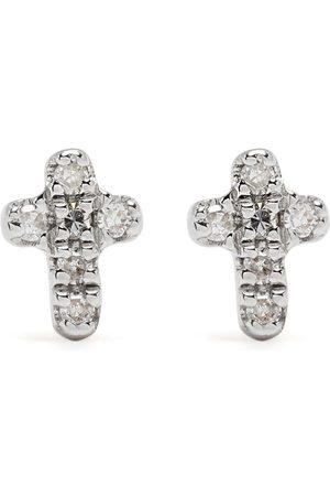 DJULA Herren Ohrringe - 18kt Cross Gelbgoldohrringe mit Diamanten