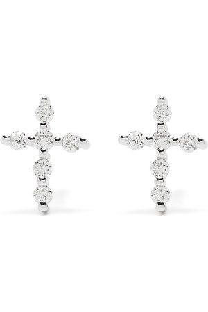 DJULA 18kt Big Cross Weißgoldohrringe mit Diamanten