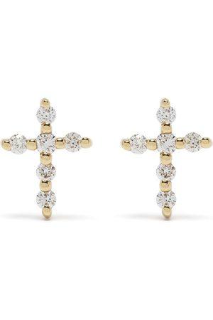 DJULA 18kt Big Cross Gelbgoldohrringe mit Diamanten
