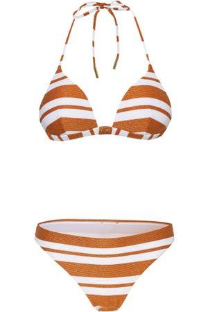MARYAN MEHLHORN Damen Bikinis - Bikini-Top: Gefütterte Verarbeitung. Wattierte Cups. Ohne Bügel. Ohne seitliche Formstäbchen. Im Nacken zu binden. Clipverschluss. Goldfarbene Logo-Applikation vorn. Ripp-Design. Blockstreifenmuster Bikini-Hose: Gefütterte