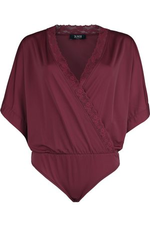 Black Premium by EMP Damen Kimonos - Dunkelroter Body in Wickeloptik und mit Kimono-Ärmeln Body dunkelrot