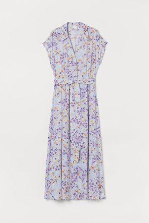 H&M Damen Freizeitkleider - Blusenkleid mit Bindegürtel