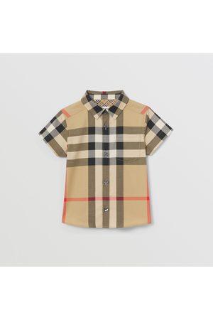 Burberry Blusen - Kurzärmeliges Hemd aus Stretchbaumwolle im Karodesign, Size: 12M
