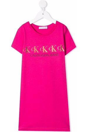 Calvin Klein Mädchen Freizeitkleider - T-Shirtkleid mit Logo-Print