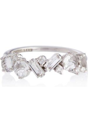 Suzanne Kalan Ring Amalfi aus 14kt Weißgold mit Diamanten und Topasen