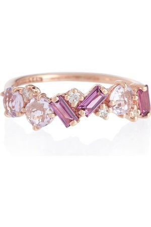 Suzanne Kalan Ring Amalfi aus 14kt Roségold mit Diamanten und Rhodolithen