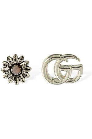 Gucci Ohrringe Mit Perlmutt- Doppel-g Und Blume
