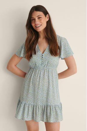 NA-KD Damen Freizeitkleider - Minikleid Mit Aufdruck Und Knöpfen - Blue