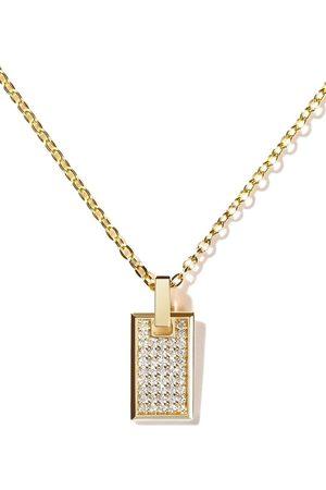 AS29 18kt Gelbgoldhalskette mit kleinem TAG Diamantanhänger