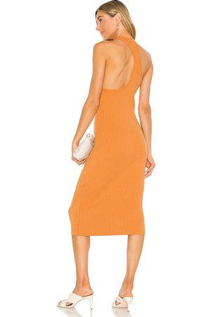 LINE & DOT Lori Asymmetrical Ribbed Midi Dress in . Size XS, S, M.