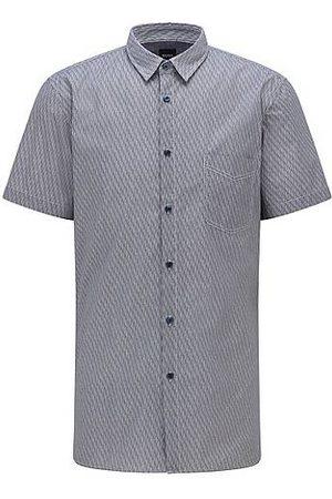 HUGO BOSS Bedrucktes Slim-Fit Hemd aus elastischer Baumwolle