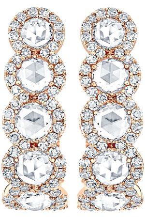 David Morris Damen Ohrringe - 18kt Rotgoldcreolen mit Diamanten, Größe 2