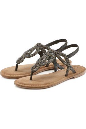 Lascana Zehentrenner Sandale mit Schmucksteinen und softer Lederinnensohle