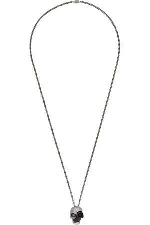 Alexander McQueen Silver & Black Divided Skull Pendant Necklace