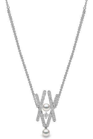 Yoko London Damen Halsketten - 18kt Sleek Weißgoldhalskette mit Diamanten und Akoya-Perlen