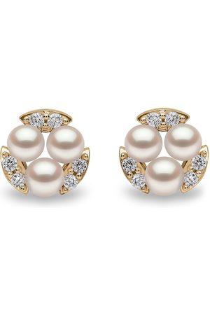 Yoko London 18kt Sleek Gelbgoldohrstecker mit Akoya-Perlen und Diamanten