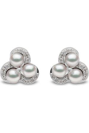 Yoko London Damen Ohrringe - 18kt Sleek Weißgoldohrstecker mit Diamanten und Akoya-Perlen
