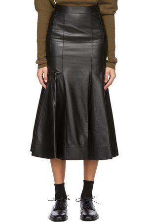 Loewe Black Lambskin Godet Skirt