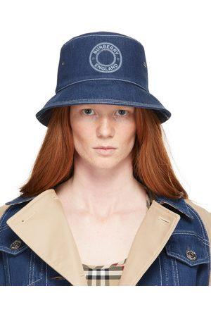 Burberry Blue Denim Circle Logo Bucket Hat