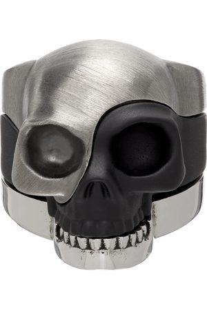 Alexander McQueen Silver & Black Divided Skull Ring
