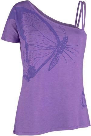 Full Volume Violettes T-Shirt mit Träger und Ärmel T-Shirt