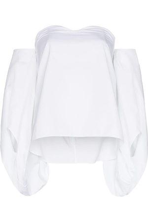 Rosie Assoulin Schulterfreie Bluse mit Puffärmeln