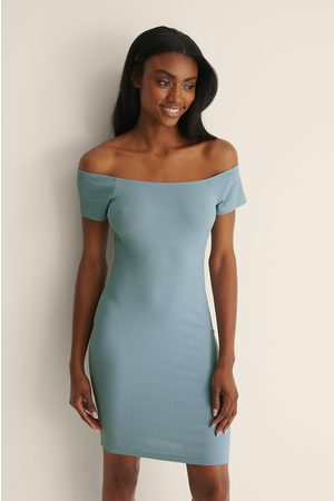 NA-KD Recycled Off shoulder Ribbed Dress - Blue