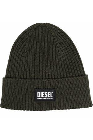 Diesel Gerippte Strickmütze mit Logo-Patch