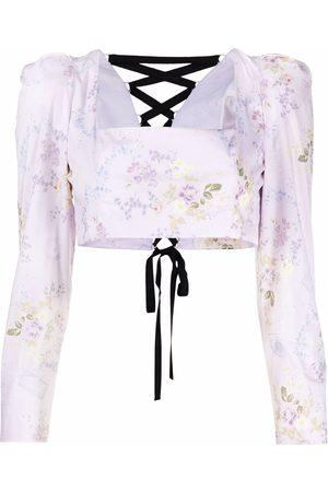 ULYANA SERGEENKO Cropped-Bluse mit Blumen-Print